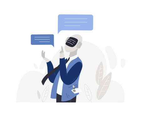 Male character robot with artificial intelligence isolated on white background. Chatting with chatbot android, dialogue with electronic cartoon guy. Technical support flat vector illustration.