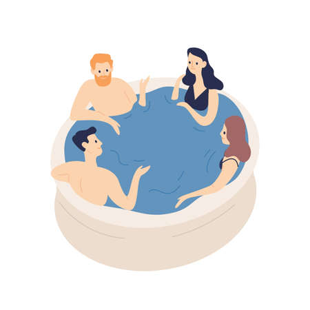 Group of smiling friends relaxing in jacuzzi vector flat illustration. Cartoon positive people in swimming pool isolated on white background. Concept of recreation leisure and communication.
