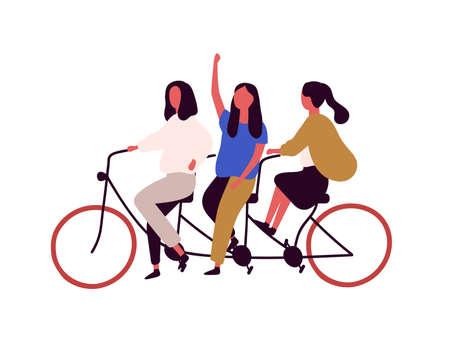 Three girls riding tandem bicycle flat vector illustration. Girlfriends cartoon characters at urban vehicle. Teamwork, leadership and collaboration, girl power and feminism concept. Illusztráció