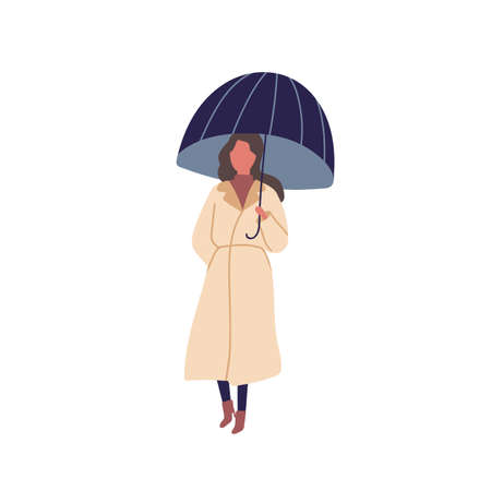 Girl with umbrella flat vector illustration. Autumn season, rainy day, walk under rain. Young woman standing alone. Lady wearing raincoat cartoon color character isolated on white background. Illustration