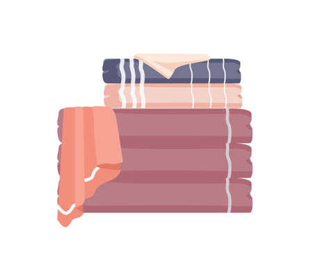 Bathroom towels pile flat colorful vector illustration. Soft folded towels stack isolated on white background. Fluffy big and small bathroom linen. Cotton clean face cloth design element.