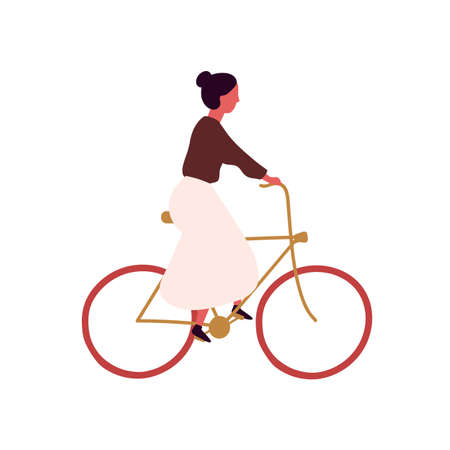 Young woman riding bicycle flat vector illustration. Girl at urban vehicle. Female cartoon character riding eco transport. City trip, student traveling isolated on white background.
