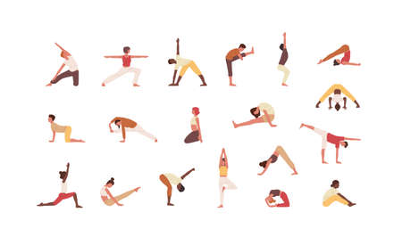 People doing yoga flat vector illustrations set. Male and female cartoon characters exercising. Men and women practicing Asana isolated collection on white background. Physical activity, workout.