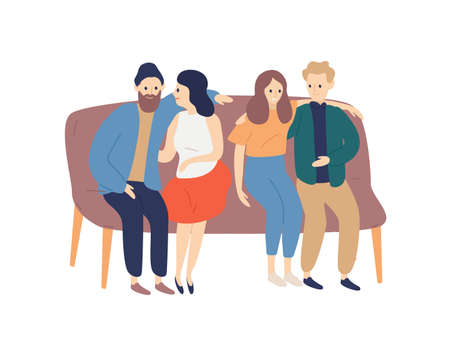 Friends spending time together flat vector illustration. Boyfriends and girlfriends hugging cartoon characters. Girls and guys sitting on sofa, couples pastime isolated on white background.