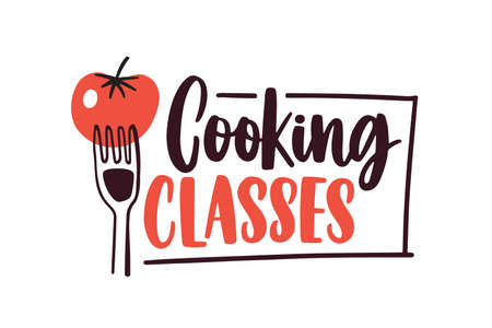 Cartoon tomato on fork with handwritten lettering sticker. Culinary courses isolated on white background. Cookery school advertisement label, emblem design.
