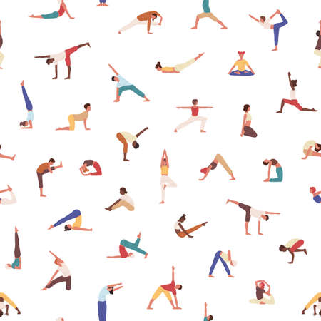 People exercising yoga seamless pattern. Yogis in poses, athletes, men and women practicing asana texture. Sportsmen training background. Textile, wallpaper, wrapping paper design.