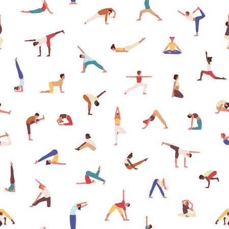 Personas que ejercen patrones sin fisuras de yoga. Yogis en poses, deportistas, hombres y mujeres practicando textura asana. Formación de deportistas. Textil, papel pintado, diseño de papel de regalo.