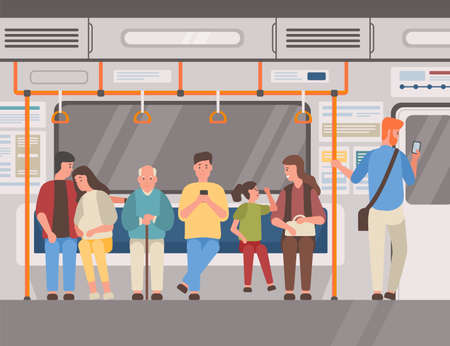 People in subway train, public transport flat illustration. Men and women sitting and standing in underground railway carriage. Suburban electric train. Passengers, commuters cartoon characters.