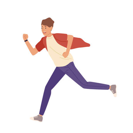 Man rushing flat illustration. Late young student in casual clothes isolated on white background. Worker hurrying. Male nervous cartoon character running fast design element.