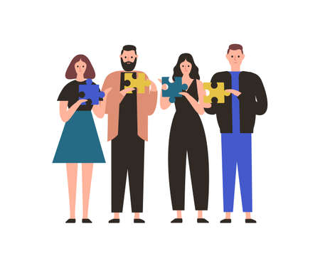 People holding jigsaw puzzle flat vector illustration. Business team collaboration, employees coworking metaphor. Teamwork and cooperation. Project management, problem solving concept.