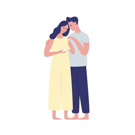 Young future parents hugging flat vector illustration. Woman holding positive pregnancy test on white background. Baby awaiting, parenting. Happy wife and husband cartoon characters isolated.