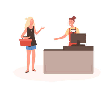 Angry woman at mall checkout flat illustration. Female displeased customer standing in queue cartoon characters. Girl with shopping basket at cashier desk. Seller and buyer arguing. Illustration