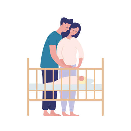 Mother and father watching at sleeping baby flat vector illustration. Parenting, family together isolated on white background. Parents cartoon characters and newborn design element. Child in crib.