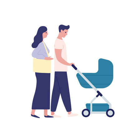 Mother and father with baby carriage flat vector illustration. Parenting, family couple together isolated on white background. Parents cartoon characters walking with child in pram.