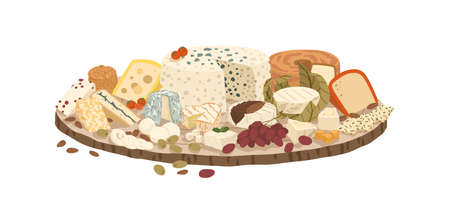 Composition of various cheeses on plate vector illustration. Collection of lactic product on rustic wooden board isolated on white background. Set of realistic dairy delicatessen with grape.