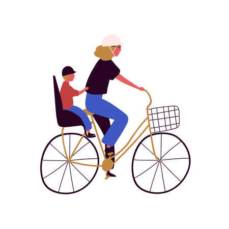 Active mother and son ride on bike vector flat illustration. Happy family cycling together isolated on white background. Concept of healthy lifestyle, leisure and spending time outdoor. Çizim