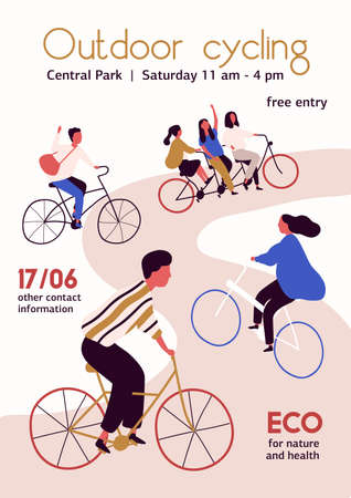 Outdoor cycling competition poster flat illustration. Cartoon people cyclist in bicycle racing on the road isolated on white background. Concept of activity, healthy lifestyle and sports.