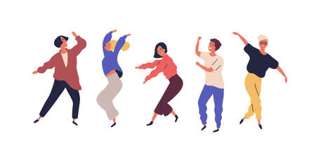 Set of dancing people having fun isolated on white background. Collection of smiling male and female in colorful clothing enjoying dance party. Cartoon dancers flat illustration