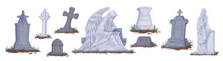 Collection of different cartoon tombstones  graphic illustration. Set of gray gravestones and sculptures isolated on white background. Concept of halloween, funeral and cemetery