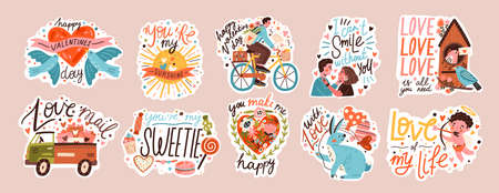 Set of valentines day doodle sticker flat illustration. Collection of love symbol and romantic elements cartoon character. Hand drawn 14 february isolated bundle.