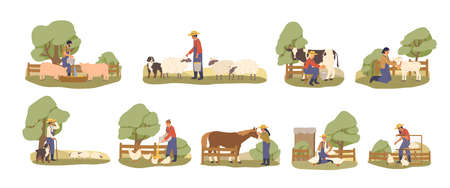 Set of various cartoon farmers taking care domestic animals flat illustration. Collection of character farmhand working at countryside isolated on white background. Rural lifestyle concept.