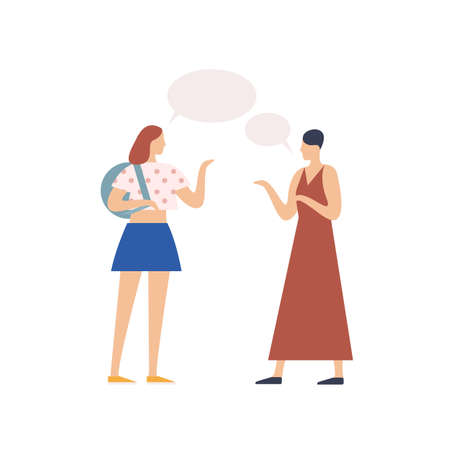 Two young girl gossiping with speech bubble vector flat illustration. People chatting each other isolated on white background. Conversation of casual trendy woman Illustration
