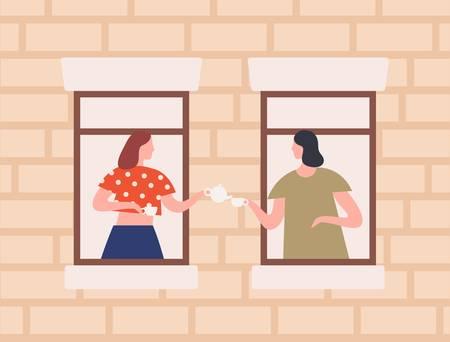 함께 차를 마시는 두 여성 이웃 벡터 평면 그림. 집 안에 창문을 통해 험담을 하는 만화 여자. 건물, 우정, 이웃 개념의 외관.