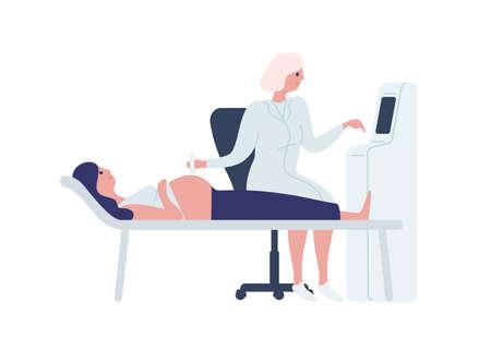 Karikaturärztin, die schwangere Frau mit flacher Illustration des Scannermaschinenvektors scannt. Glückliche zukünftige Mutter bei der medizinischen Untersuchung, isoliert auf weiss. Konzept der Ultraschalluntersuchung der Medizin