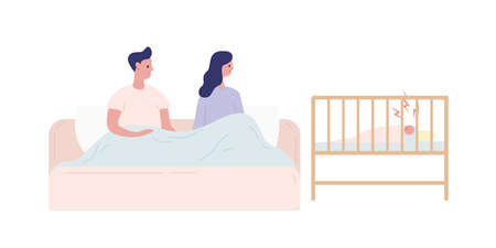 Young parents having sleepless nights with a newborn baby vector flat illustration. Mother and father in bed during insomnia with crying infant isolated on white. Parenthood and care concept