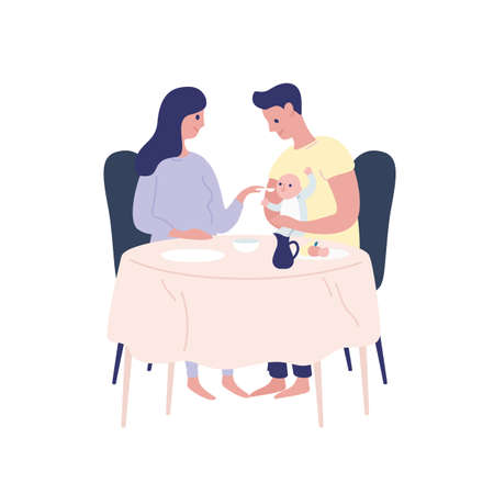 Happy cartoon parents feeding newborn baby vector flat illustration. Smiling mother, father and child eating together isolated on white. Concept of parenthood and spending time with family