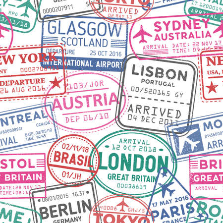 Visa stamps vector seamless pattern. Austria, Glasgow, London, Brasil, Sydney colorful stamps backdrop. Visited countries and territories, travelling texture. Wallpaper, wrapping paper design idea.