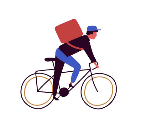 Backpacker cartoon male riding on bicycle vector flat illustration. Delivery man cyclist on bike isolated on white background. Guy character biking with big backpack