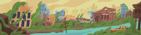 Ilustración de vector de dibujos animados mundo post apocalíptico abandonado. Destrucción coloreada en la zona de guerra, concepto de desastre natural. Ruinas de la ciudad con edificios destruidos y dañados en la calle
