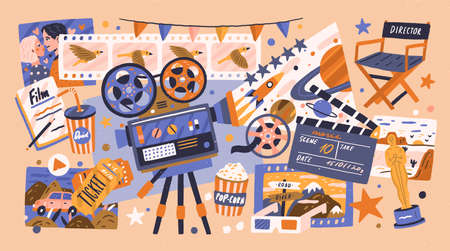 Cartoon cinema design concept with different elements of cinematography. Hand drawn equipment, decoration and viewers accessories isolated vector illustration. Tools for production video