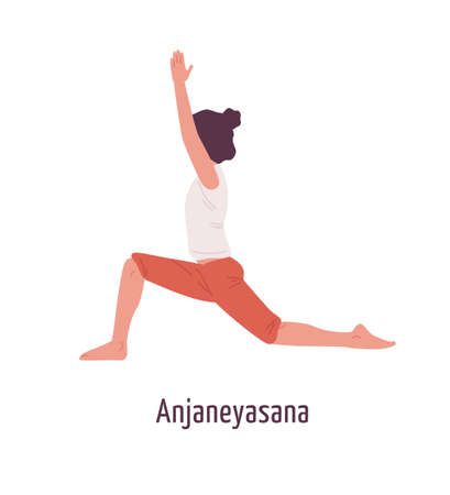 Active cartoon girl demonstrating anjaneyasana pose vector flat illustration. Yogi female practicing Young moon position isolated on white. Yoga woman training in low lunge posture Illustration