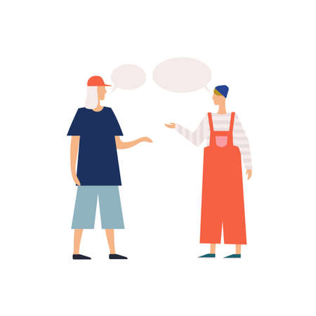 Dialogue of two young modern cartoon people with speech bubbles vector flat illustration. Male and female teenager communication each other isolated on white background. People character gossiping
