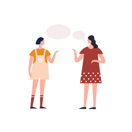 Young teen girl talking to female friend with speech bubbles vector flat illustration. Catroon gossip woman communication together isolated on white background. Conversation of two people character