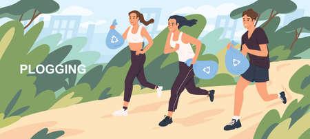 Aktywni kreskówka ludzie zbierając śmieci podczas plogging płaskie ilustracji wektorowych. Postać mężczyzny i kobiety biegać w naturalnym parku do czyszczenia środowiska. Koncepcja ochrony zdrowego stylu życia i ekologii.