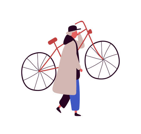 Cartoon man in cap and cloak raising up bike isolated on white background. Colored male character carry bicycle vector flat illustration. Person carrying vehicle