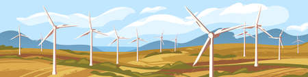 Autumn natural landscape with windmills vector graphic illustration. Nature scenery sea, mountain, field with wind energetic turbines. Concept of ecological alternative energy and environment saving