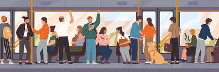 Different cartoon people go by public transport vector flat illustration. Crowd of passengers characters inside city bus. Colored man and woman at train interior