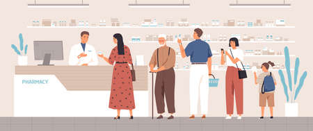 Smiling cartoon pharmacist and clients in counter at pharmacy vector flat illustration. Different positive people standing in queue at drugstore. Colored customers characters buying medicines Vettoriali