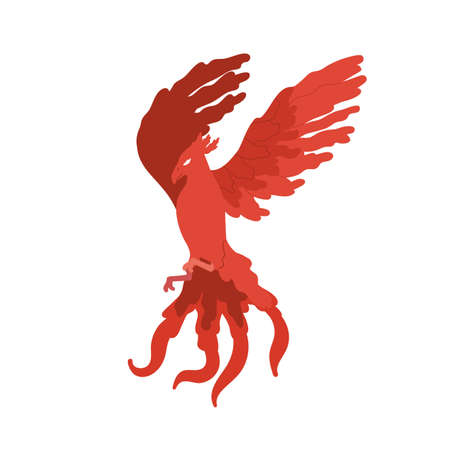 Fairy tale red bird phoenix vector flat illustration. Cartoon fire flying character isolated on white background. Fantasy magical creature with wings symbol of immortality and eternal life