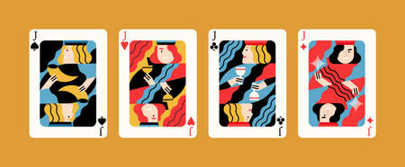 Set of different kind of jacks winning poker hand vector flat illustration. Four of a kind card combination, various suits graphic design isolated. Collection of cartoon playing cards
