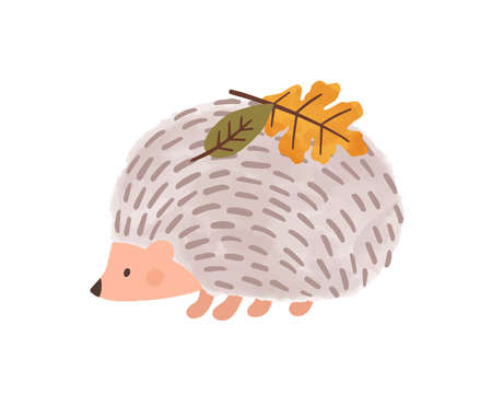 Cute cartoon hedgehog with leaves on needles vector flat illustration. Autumn urchin character with colorful leaf on back isolated on white background. Wild animal at seasonal weather graphic design