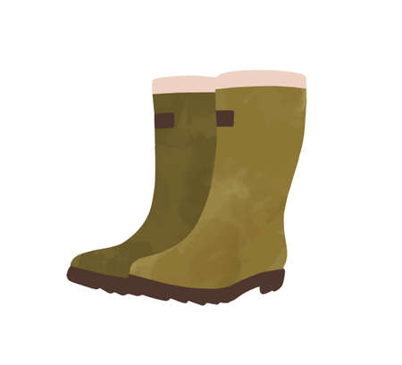Green rubber boots watercolor vector graphic illustration. Autumn weather shoes hand drawn isolated on white background. Colored seasonal high boot gumboots