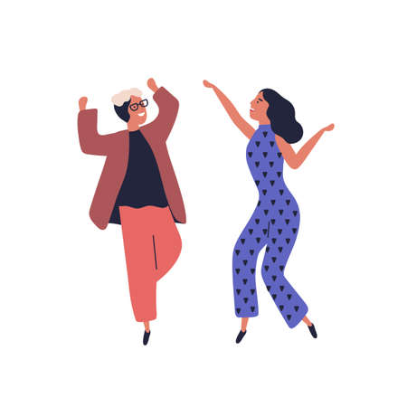Happy couple dancing together having fun raising hands vector flat illustration. Smiling stylish man and woman dancer rejoicing have positive emotion isolated on white. Joyful cartoon dancers 向量圖像
