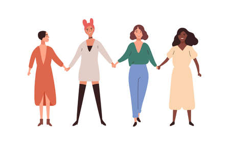 Four happy diverse young woman smiling holding hands vector flat illustration. Group of girl union of feminists standing together isolated on white background. Female friendship and sisterhood Vektorové ilustrace