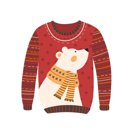 Comfortable red handmade Christmas sweater with cute white bear image isolated. Cozy knitted winter season clothes vector flat illustration. Cartoon festive jumper design with animal.
