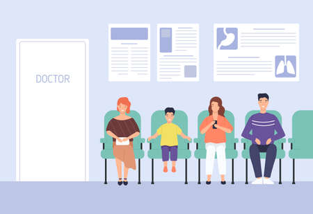 Smiling cartoon people sitting on chairs waiting doctor appointment at hospital vector flat illustration. Man, woman and child at modern clinic. Colorful visitors at physician office